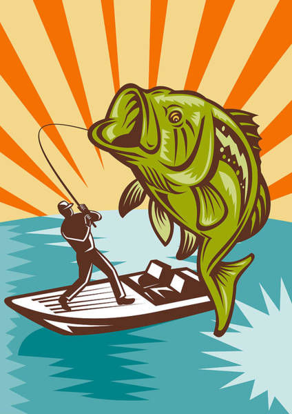 Lake Digital Art - Largemouth Bass Fish And Fly Fisherman by Aloysius Patrimonio