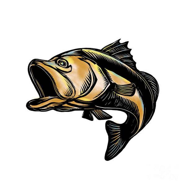 Scratchboard Wall Art - Digital Art - Largemouth Bass Scratchboard by Aloysius Patrimonio