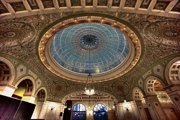 Cultural Center Wall Art - Photograph - Largest Tiffany Glass Dome - Chicago by Daniel Hagerman