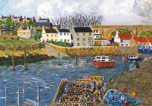 Fife Painting - Largo Harbour by Gerry Best