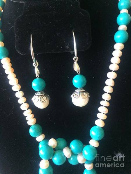 Freshwater Pearls Wall Art - Jewelry - Lariat White Pearl And Turquoise Necklace Earrings Set Silver  by Estela Robles