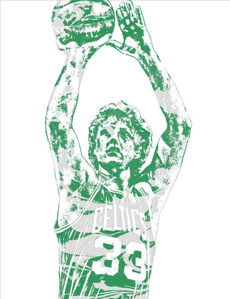 Wall Art - Mixed Media - Larry Bird Boston Celtics Pixel Art 5 by Joe Hamilton