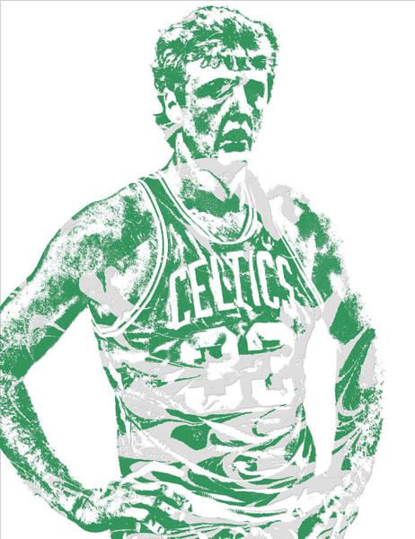 Wall Art - Mixed Media - Larry Bird Boston Celtics Pixel Art 6 by Joe Hamilton
