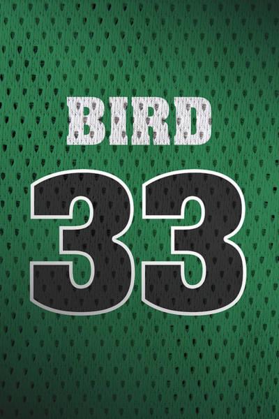 Retro Mixed Media - Larry Bird Boston Celtics Retro Vintage Jersey Closeup Graphic Design by Design Turnpike