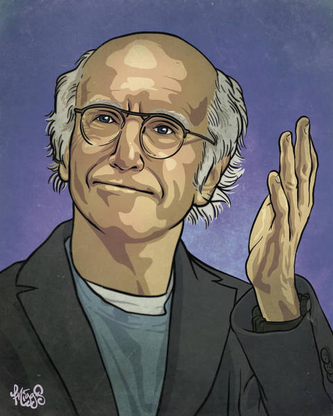 Joke Wall Art - Drawing - Larry David by Miggs The Artist