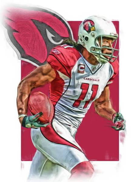 Cardinal Mixed Media - Larry Fitzgerald Arizona Cardinals Oil Art 2 by Joe Hamilton