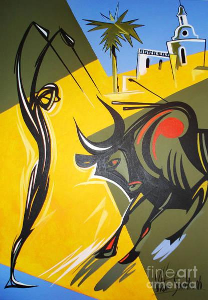 Acrilic Painting - Las Banderillias by Viktor Smolik