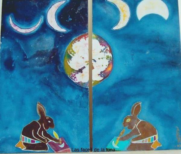 Rabit Painting - Las Faces De La Luna by Eric Hirsch