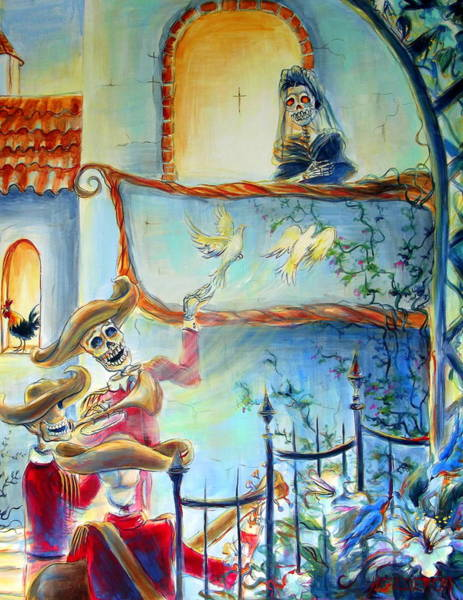 Bone Painting - Las Mananitas by Heather Calderon