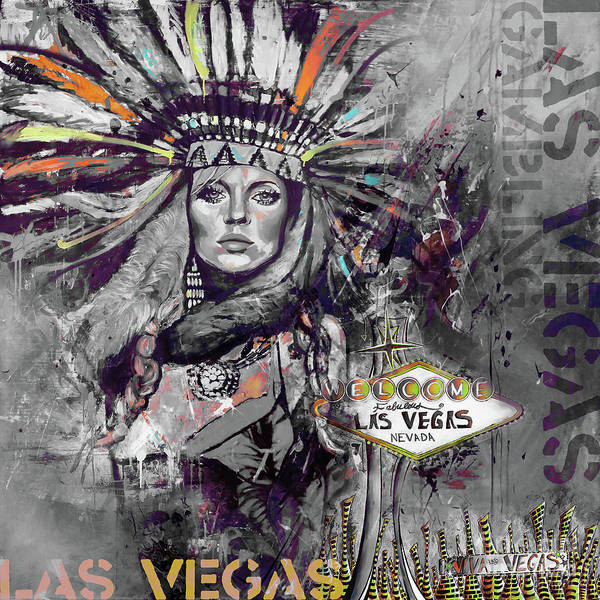 Neon Sign Painting - Las Vegas 88uy by Gull G