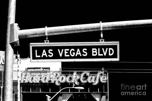 Street Sign Photograph - Las Vegas Blvd Sign by John Rizzuto