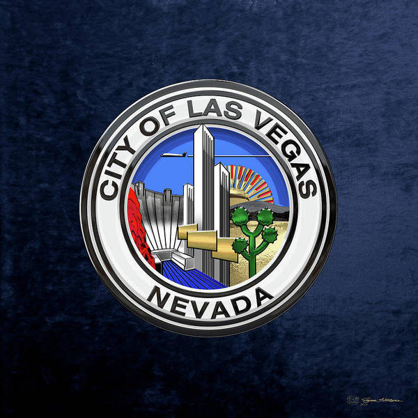 Digital Art - Las Vegas City Seal Over Blue Velvet by Serge Averbukh