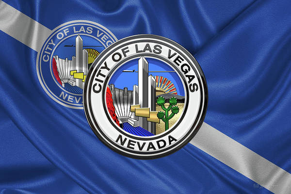 Digital Art - Las Vegas City Seal Over Flag  by Serge Averbukh