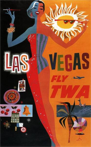 Wall Art - Mixed Media - Las Vegas, Fly Twa - Retro Travel Poster - Vintage Poster by Studio Grafiikka
