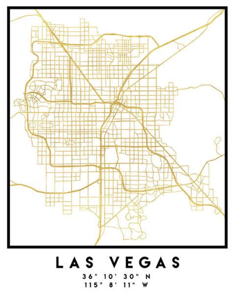 Downtown Las Vegas Digital Art - Las Vegas Nevada City Street Map Art by Emiliano Deificus