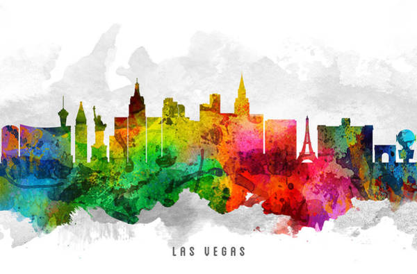 Las Vegas Nevada Painting - Las Vegas Nevada Cityscape 12 by Aged Pixel