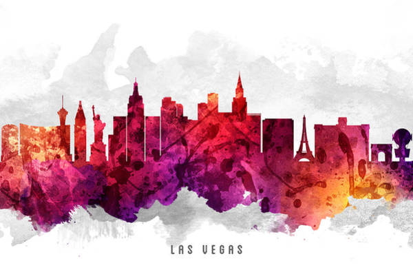 Las Vegas Nevada Painting - Las Vegas Nevada Cityscape 14 by Aged Pixel