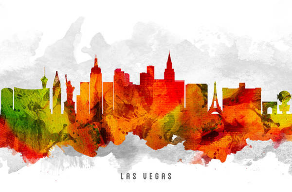 Las Vegas Nevada Painting - Las Vegas Nevada Cityscape 15 by Aged Pixel