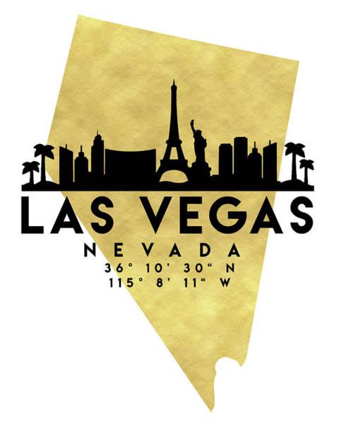 Downtown Las Vegas Digital Art - Las Vegas Nevada Silhouette City Skyline Map Art by Emiliano Deificus