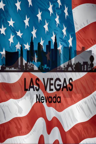 Digital Art - Las Vegas Nv American Flag Vertical by Angelina Tamez