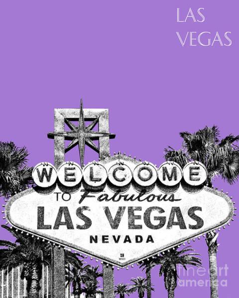 Wall Art - Digital Art - Las Vegas Sign - Purple by DB Artist