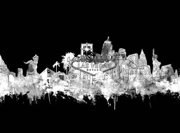 Wall Art - Digital Art - Las Vegas Skyline Black by Bekim M