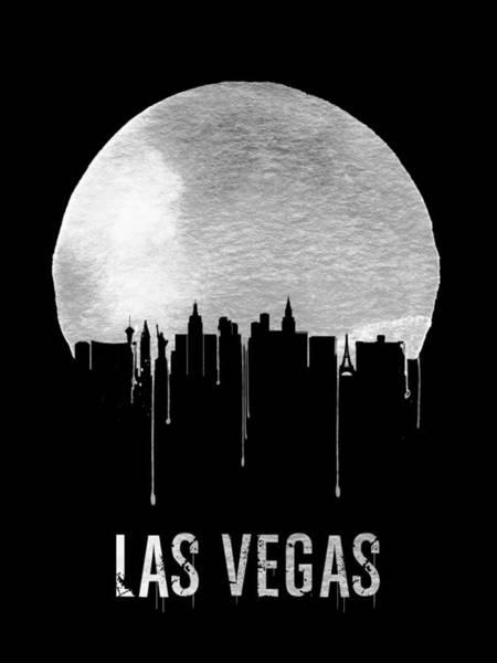 Sin Wall Art - Painting - Las Vegas Skyline Black by Naxart Studio