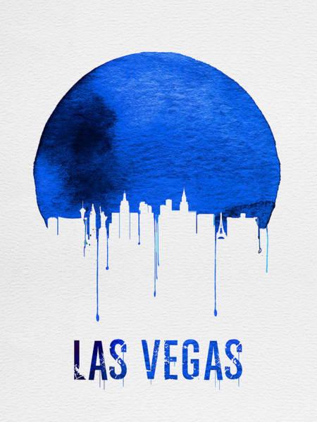 Gambling Wall Art - Painting - Las Vegas Skyline Blue by Naxart Studio