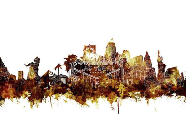 Downtown Las Vegas Digital Art - Las Vegas Skyline Brown by Bekim M