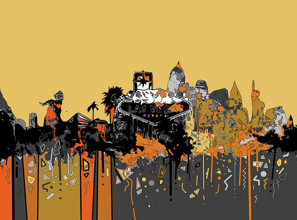 Downtown Las Vegas Digital Art - Las Vegas Skyline Comic Design 3 by Bekim M