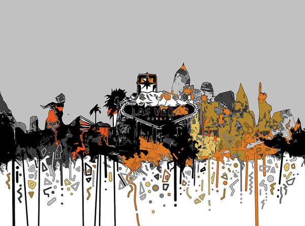 Downtown Las Vegas Digital Art - Las Vegas Skyline Comic Design by Bekim M