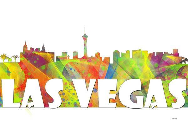 Downtown Las Vegas Digital Art - Las Vegas Skyline by Marlene Watson
