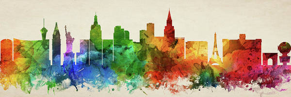 Wall Art - Digital Art - Las Vegas Skyline Panorama Usnvlv-pa03 by Aged Pixel