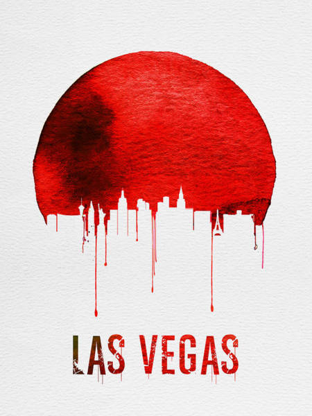 Gambling Wall Art - Painting - Las Vegas Skyline Red by Naxart Studio