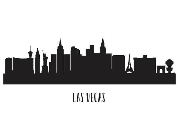 Downtown Las Vegas Digital Art - Las Vegas Skyline Silhouette by Anna Maloverjan