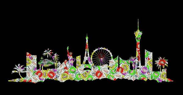 Nv Digital Art - Las Vegas Skyline Silhouette Chips by Ricky Barnard