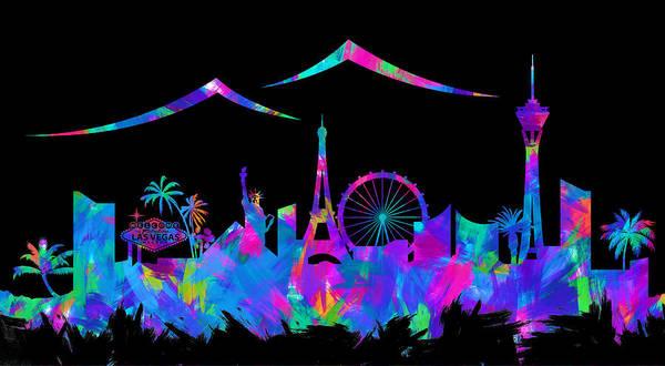 Nv Digital Art - Las Vegas Skyline Silhouette Iv by Ricky Barnard