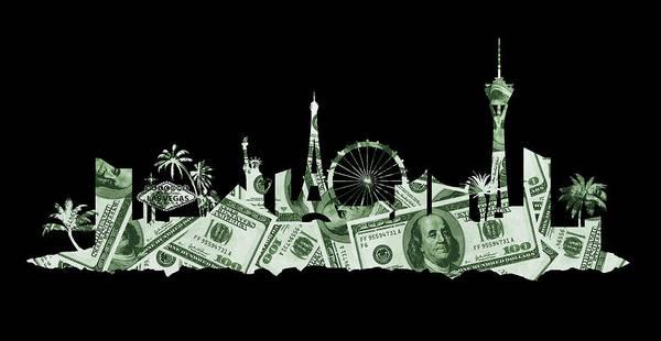 Nv Digital Art - Las Vegas Skyline Silhouette Money by Ricky Barnard