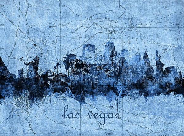 Downtown Las Vegas Digital Art - Las Vegas Skyline Vintage 2 by Bekim M