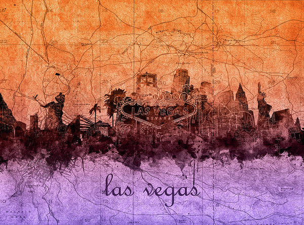 Downtown Las Vegas Digital Art - Las Vegas Skyline Vintage 3 by Bekim M