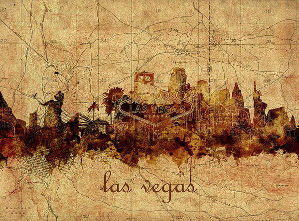 Downtown Las Vegas Digital Art - Las Vegas Skyline Vintage 4 by Bekim M