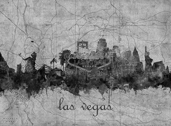 Downtown Las Vegas Digital Art - Las Vegas Skyline Vintage 5 by Bekim M