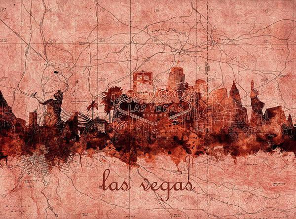 Downtown Las Vegas Digital Art - Las Vegas Skyline Vintage by Bekim M
