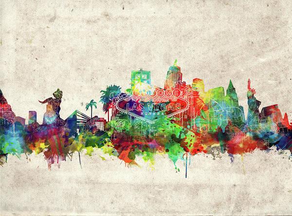 Downtown Las Vegas Digital Art - Las Vegas Skyline Watercolor by Bekim M