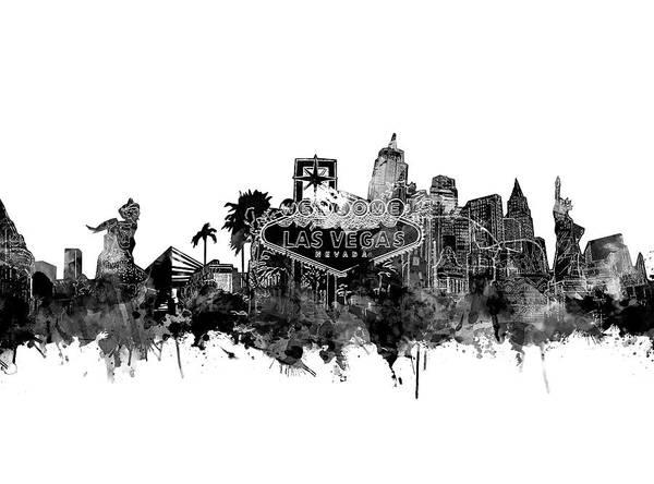 Downtown Las Vegas Digital Art - Las Vegas Skyline White by Bekim M