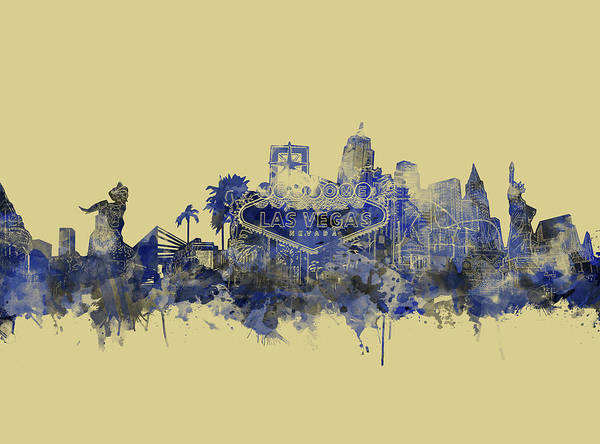 Downtown Las Vegas Digital Art - Las Vegas Skyline Yellow Blue by Bekim M
