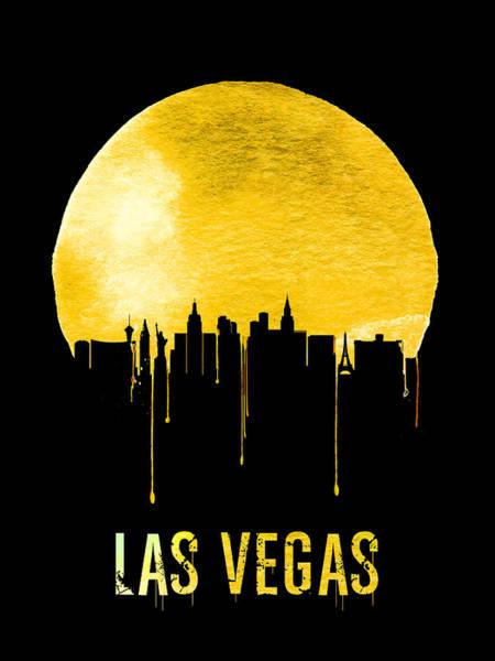 Sin Wall Art - Painting - Las Vegas Skyline Yellow by Naxart Studio