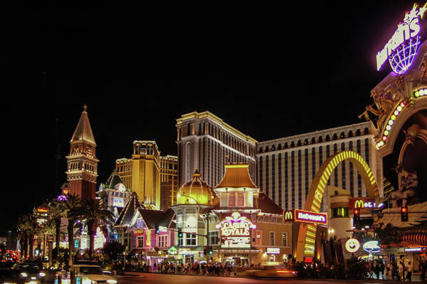 Harrahs Photograph - Las Vegas Strip At Night by Bob Cuthbert