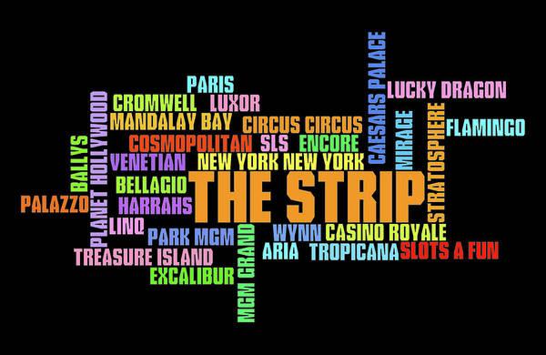 Fabulous Digital Art - Las Vegas Strip Casino Typography by Ricky Barnard