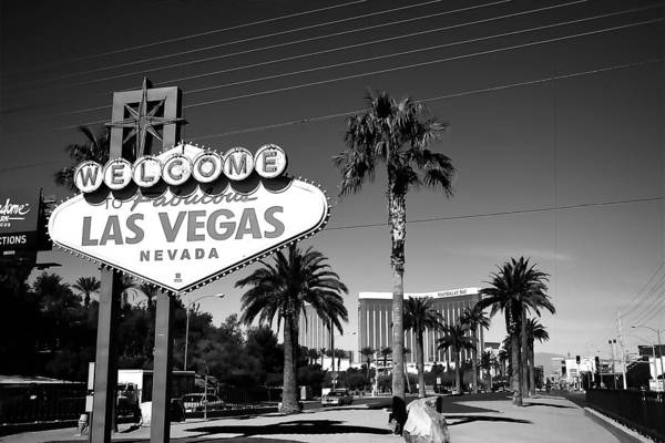 Photograph - Las Vegas Welcome B/w by Paulette B Wright